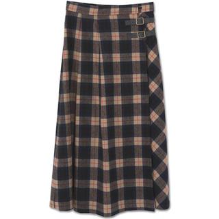 マリークワント(MARY QUANT)のマリークワント ロングスカート シャギーチェックラップ  スカート(ネイビー)(ロングスカート)