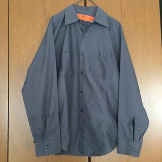 ディッキーズ(Dickies)の90s RED KAPロングスリーブシャツ 美品 レッドキャップ 無地濃グレー (シャツ)