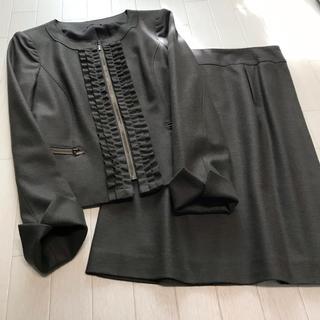 アナイ(ANAYI)のANAYI フロントフリル ノーカラースカートスーツ 38(スーツ)
