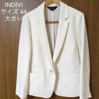 インディヴィ(INDIVI)のINDIVI* ジャケット 44 白 手洗い 大きい 伸縮性 超美品!(テーラードジャケット)