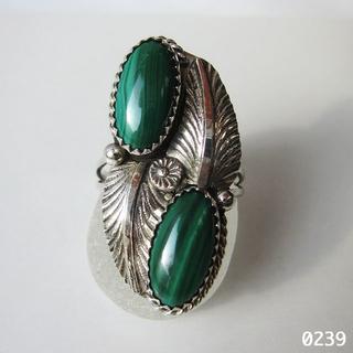 Indian - インディアンジュエリー シルバー マラカイト グリーン 孔雀石 純銀 花柄21号