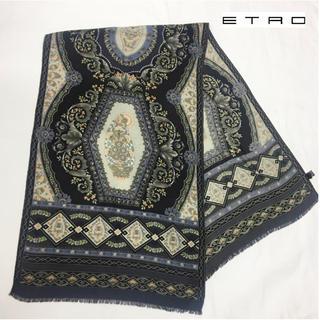 エトロ(ETRO)の定価3.5万/未使用☆ETRO/エトロ☆スカーフ☆シルク☆ダークグレー系(バンダナ/スカーフ)