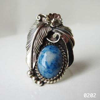 インディアンジュエリー シルバー 天然石 デニムラピス ラピスラズリ 純銀13号(リング(指輪))