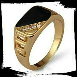 ラグジュアリースクエアリング 18号 ゴールド ジルコニア  メンズ(リング(指輪))