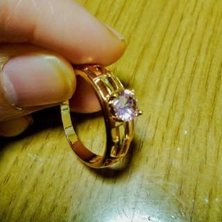 【詳細不明】ピンク石ゴールドリング(リング(指輪))