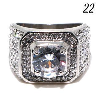 W7 リング 22号 人工石 ホワイトサファイア ラウンド 大きいサイズ(リング(指輪))