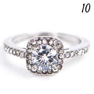 W8 リング 10号 人工石 ラウンド ホワイトサファイア 指輪(リング(指輪))