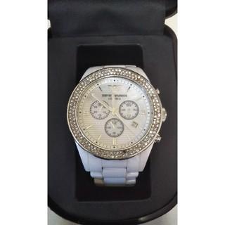 エンポリオアルマーニ(Emporio Armani)の正規品☆EMPORIO ARMANI ホワイトラインストーンセラミック 腕時計(腕時計(アナログ))