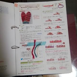 フェリシモ(FELISSIMO)のお散歩ミトンの会 レシピと糸端(型紙/パターン)