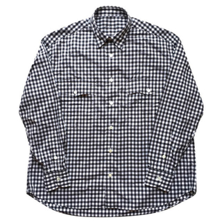 ポーター(PORTER)の【新品サイズL】ROLL UP GINGHAM CHECK SHIRT ブラック(シャツ)