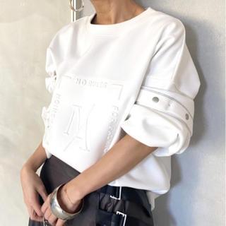 アメリヴィンテージ(Ameri VINTAGE)のAMERI 2WAY DEKOBOKO TOP ホワイト(トレーナー/スウェット)
