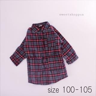 <即納> (110-115cm) 2way タータンチェック シャツ ワンピース(ワンピース)