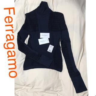 サルヴァトーレフェラガモ(Salvatore Ferragamo)のFerragamo フェラガモ  デザイン ニット ネイビー メッシュ(ニット/セーター)