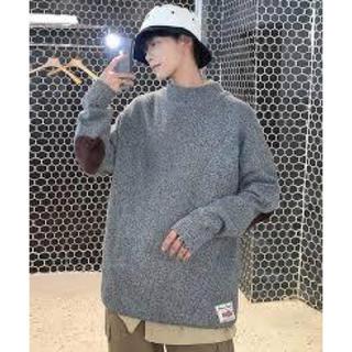 【neos】オーバーサイズ モックネック エルボーパッチ ニット セーター(ニット/セーター)
