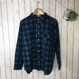 新品3L 大きいサイズ シンプルフランネルシャツ グリーン(シャツ/ブラウス(長袖/七分))