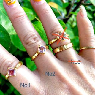 新品 ピンクトルマリン クラウン スクエアリング インドジュエリー(リング(指輪))