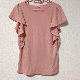 ユニクロ(UNIQLO)のフリル袖 ピンク(Tシャツ(半袖/袖なし))