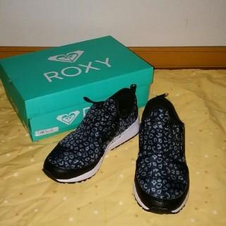 ロキシー(Roxy)の新品 ROXY ロキシー レオパード柄 ナイロン スニーカー 24 黒系(スニーカー)