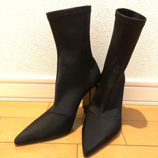 イエローブーツ(Yellow boots)の中古品 YELLO ソックスブーツ 黒(ブーツ)