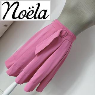 ノエラ(Noela)のノエラ ベルト付きカラーフレアスカート ピンク(ひざ丈スカート)