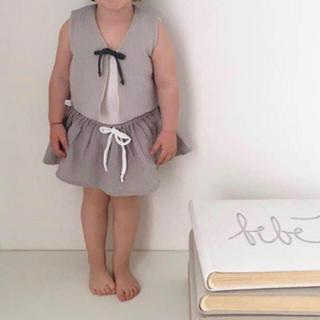 キャラメルベビー&チャイルド(Caramel baby&child )のliilu sleeve less vest リバーシブル ベスト グレー(カーディガン/ボレロ)
