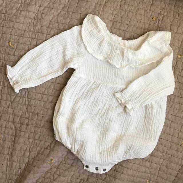 futafuta(フタフタ)の韓国こども服 ポンポン ボンネット ロンパース キッズ/ベビー/マタニティのベビー服(~85cm)(ロンパース)の商品写真