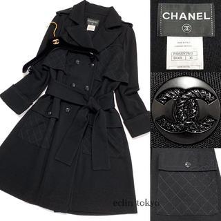 シャネル(CHANEL)のシャネル《マトラッセ刺繍》ココマーク トレンチコート36 黒 E1905(トレンチコート)