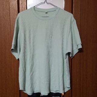 ユニクロ(UNIQLO)のUNIQLO パステルグリーンワッフル生地Tシャツ XL(Tシャツ(半袖/袖なし))
