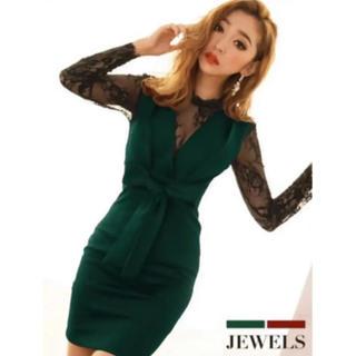 ジュエルズ(JEWELS)のジュエルズ☆ハイネック胸元レースドレス(ミニドレス)