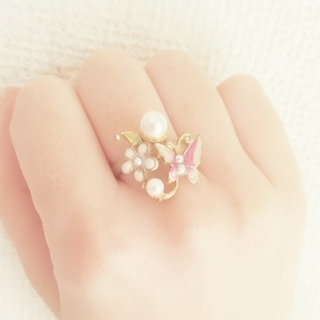 アビステ(ABISTE)のリング フリーサイズ 蝶 花 アンティーク ゴールド ミハエルネグリン風(リング(指輪))