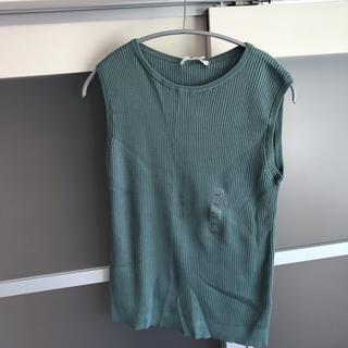 ユニクロ(UNIQLO)のユニクロ UVカット リブノースリーブセーター 新品(カットソー(半袖/袖なし))