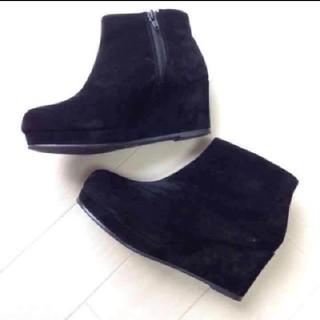 サルース(salus)のSalusサルース◆スエードウェッジブーツ◆Lサイズ ◆黒ブラック◆新品(ブーツ)