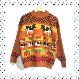 古着*牛とすいかとハートのニット オレンジ チェック柄(ニット/セーター)