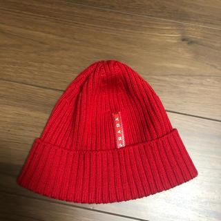 プラダ(PRADA)のプラダ ニットキャップ ニット帽 PRADA 赤 ビーニー(ニット帽/ビーニー)