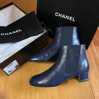 CHANEL - シャネル サイドゴアブーツ ブーツ ショートブーツ  ブーティ 紺 ネイビー