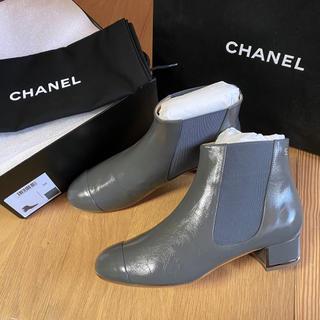 CHANEL - シャネル サイドゴアブーツ ブーツ ショートブーツ  ブーティ グレー