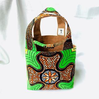 グリーン ミニトートバッグ 帆布 リバーシブル アフリカ布 バオバブ神戸(トートバッグ)