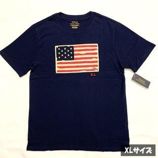 ポロラルフローレン(POLO RALPH LAUREN)の大人も着られる!ラルフローレン 星条旗 Tシャツ ネイビー XLサイズ.(Tシャツ/カットソー)