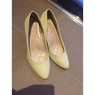 春色 イエロー 黄色 パンプス 25cm(ハイヒール/パンプス)
