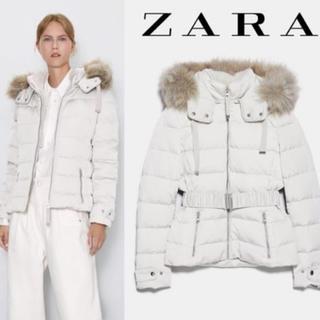 ZARA - ZARA フード付きキルティングダウンジャケット ホワイト 新品