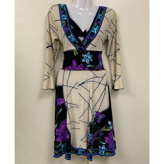 レオナール(LEONARD)の《美品》フローラルプリントドレス(ひざ丈ワンピース)