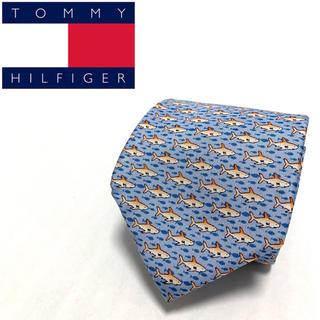 トミーヒルフィガー(TOMMY HILFIGER)の【美品!】トミーフィルフィガー 高級 ネクタイ 総柄 シルク  魚 フィッシュ(ネクタイ)