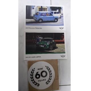 ビーエムダブリュー(BMW)の新品 非売品 MINI 60周年記念 ポストカード2枚&ステッカー(車外アクセサリ)