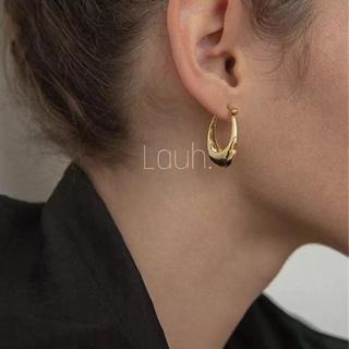 BEAMS - j321.oval hoop pierce(gold)