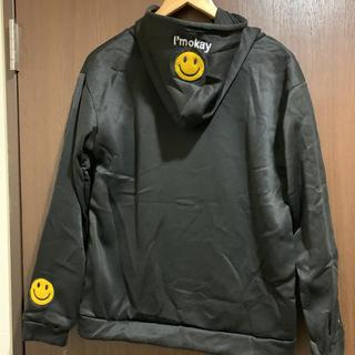 裏起毛ニコちゃんパーカー スマイル ブラック 黒(パーカー)