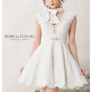 Andy - ROBE de FLEURS 刺繍 リボン チョーカー フレア ミニ ドレス