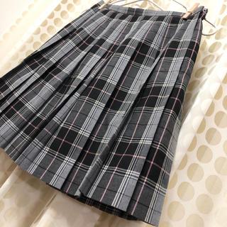 イーストボーイ(EASTBOY)のイーストボーイEASTBOY グレー黒白ピンクチェックスカート  11号 丈45(ひざ丈スカート)