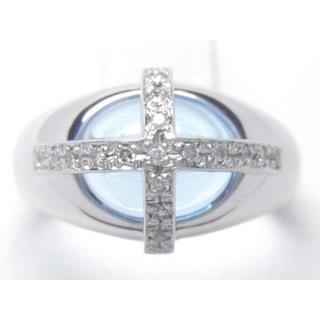 K18WG 天然 ブルートパーズ ダイヤ リング(リング(指輪))