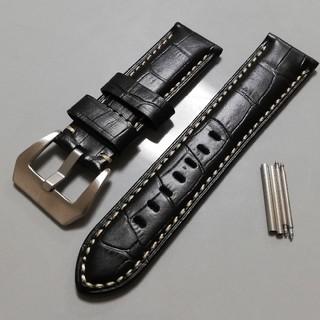 オフィチーネパネライ(OFFICINE PANERAI)の腕時計バンド レザーベルト 24mm ブラック クロコ型押し パネライなどに!(レザーベルト)