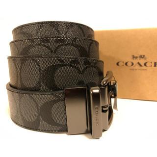 COACH - 新品未使用 コーチ  メンズ ベルト シグネチャー  グレー×ブラック